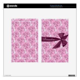 Purple Vintage Flowers Personalized Kindle Skin