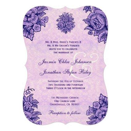 Purple Vintage Flowers Wedding V37 Custom Invitation