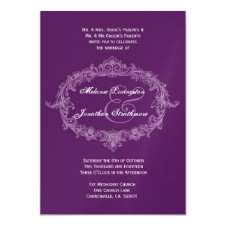 Purple Vintage Frame Wedding Template 5x7 Paper Invitation Card