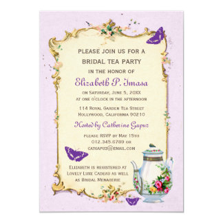 Purple Vintage French Bridal Tea Party Custom Invitations