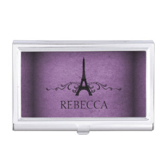Purple Vintage French Flourish Case For Business Cards
