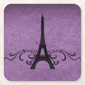 Purple Vintage French Flourish Paper Coaster