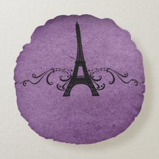 Purple Vintage French Flourish Round Pillow