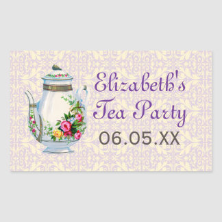 Purple Vintage French Tea Party Favor Stickers
