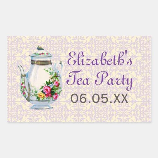 Purple Vintage French Tea Party Favor Stickers