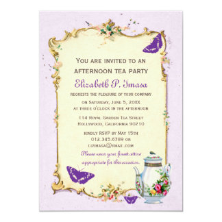 "Purple Vintage French Tea Party 5"" X 7"" Invitation Card"