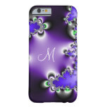 Purple Vintage Geometric Fractal Monogram Barely There iPhone 6 Case