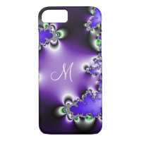 Purple Vintage Geometric Fractal Monogram iPhone 7 Case