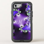 Purple Vintage Geometric Fractal With Monogram Otterbox Defender Iphone 7 Case at Zazzle