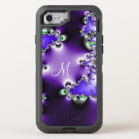 Purple Vintage Geometric Fractal with Monogram OtterBox Defender iPhone 7 Case