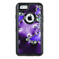 Purple Vintage Geometric Fractal with Monogram OtterBox Defender iPhone Case