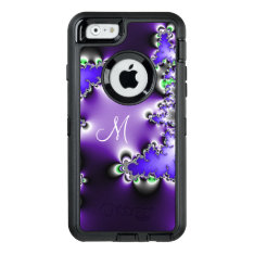 Purple Vintage Geometric Fractal With Monogram Otterbox Defender Iphone Case at Zazzle