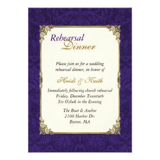 Purple & Vintage Gold Rehearsal Dinner Invitation