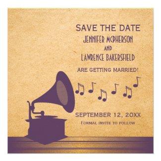 Purple Vintage Gramophone Save the Date Invite