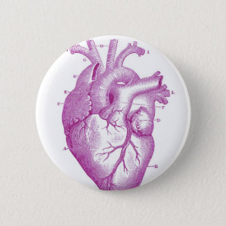 Purple Vintage Heart Anatomy Button