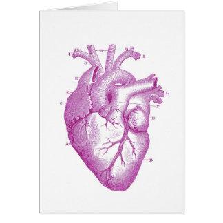 Purple Vintage Heart Anatomy Card