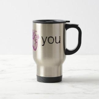 "Purple Vintage Heart Anatomy ""I Heart You"" 15 Oz Stainless Steel Travel Mug"