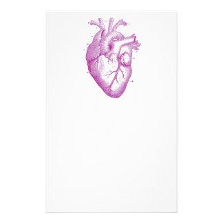 Purple Vintage Heart Anatomy Stationery