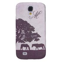 Purple Vintage Horse Farm Wedding Galaxy S4 Case