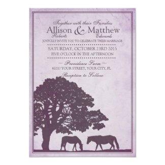 Purple Vintage Horse Farm Wedding Invitation