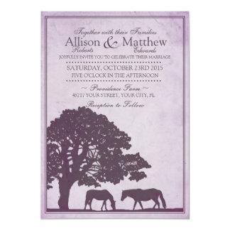 Purple Vintage Horse Farm Wedding 5x7 Paper Invitation Card