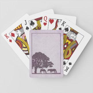 Purple Vintage Horse Farm Wedding Playing Cards