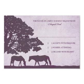 Purple Vintage Horse Farm Wedding rsvp 3.5x5 Paper Invitation Card