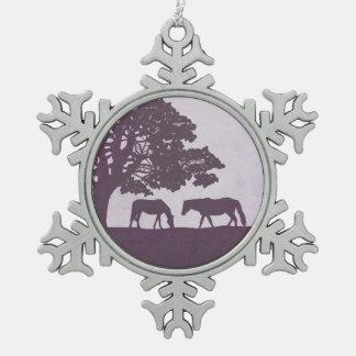 Purple Vintage Horse Farm Wedding Snowflake Pewter Christmas Ornament