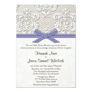 Purple Vintage Lace and Pearls Glamour Wedding Personalized Announcements