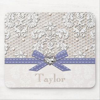 Purple Vintage Lace and Pearls Mouse Pad