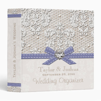 Purple Vintage Lace and Pearls Wedding Organizer Binder