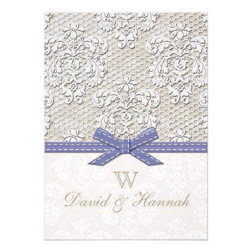 Purple Vintage Lace Wedding Invitations 5 X 7 Invitation Card