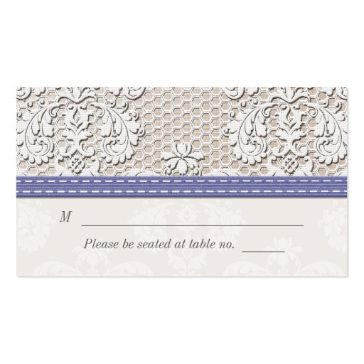 Purple Vintage Lace Wedding Seating Place Cards