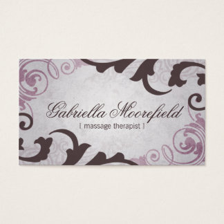 Purple Vintage Massage Therapy Business Card