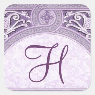Purple Vintage Ornate Arch Monogram Wedding V18 Stickers