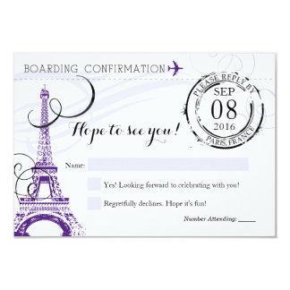 Purple Vintage Paris France Birthday Party RSVP Card
