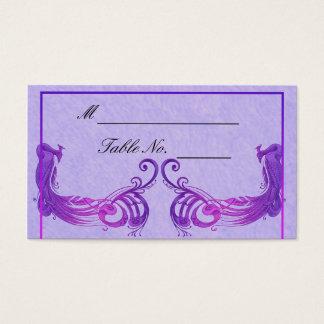 Purple Vintage Peacock Wedding Place Card