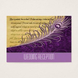 Purple Vintage Peacock Wedding Reception Cards