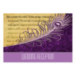 Purple Vintage Peacock Wedding Reception Cards Business Cards