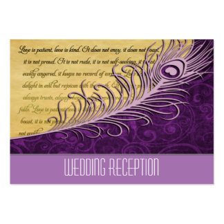 Purple Vintage Peacock Wedding Reception Cards Large Business Cards (Pack Of 100)