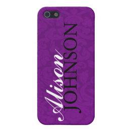 Purple Vintage Personalized iPhone 4 Case