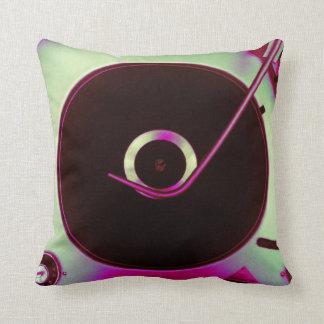 Purple Vintage Retro Vinyl Record Player Throw Pillow