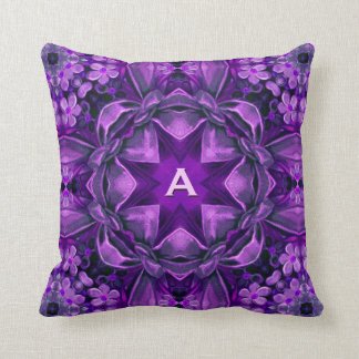Purple Vintage Ribbons and Bows Monogram Pillow
