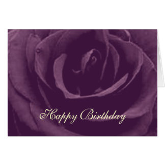 Purple Vintage Rose Happy Birthday greeting card
