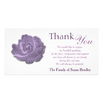 Purple Vintage Rose Sympathy Thank You Photo Card