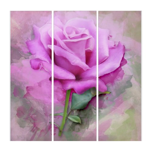 Purple Vintage Rose Triptych Art a Beautiful lovely vintage rose artistic beautiful.. Would look lovely in any room.