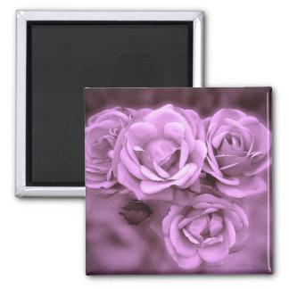 Purple Vintage Roses 2 Inch Square Magnet