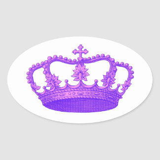 Purple Vintage Royal Crown Gift Collection Oval Sticker