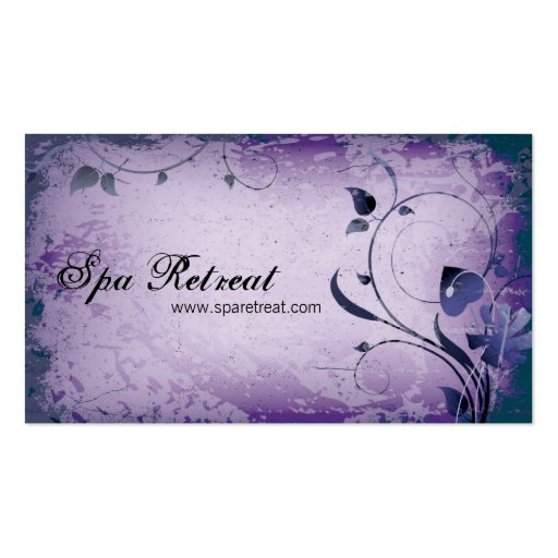 Purple Vintage Spa Retreat Leafy Business Card