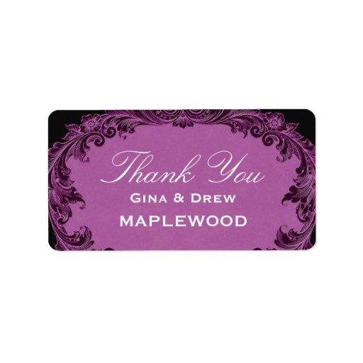 Purple Vintage Thank You Sticker B452 Label